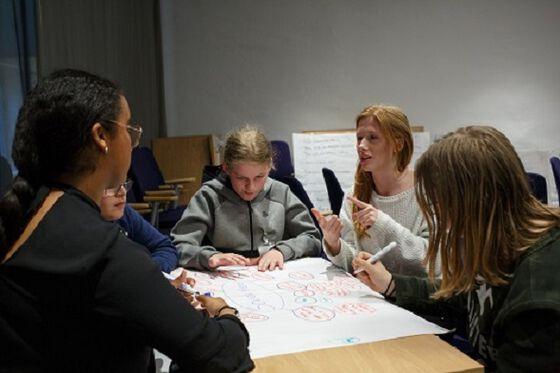 Elever jobber sammen i klasserommet
