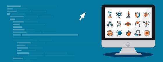 Illustrasjonsfoto for arrangementet Research Bazaar. Skjerm med ikoner for ulike fagområder.