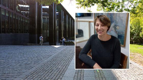 Profilbilde av Torill Strand klipt inn i et bakgrunnsbilde fra Blindern Campus
