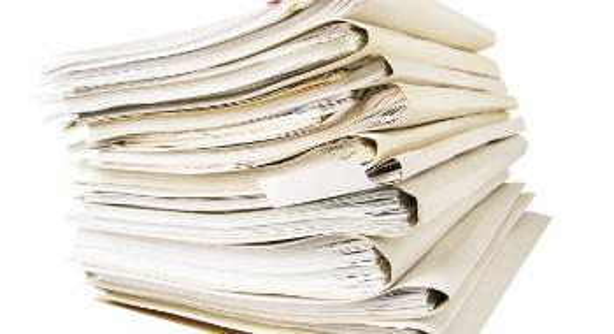 Bunke papirer. Foto