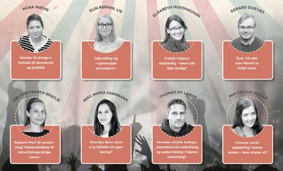 Plakat med bilde av deltagerene. Foto.
